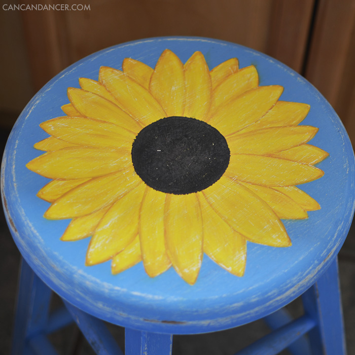 Hand Painted Sunflower Stool Can Can Dancer