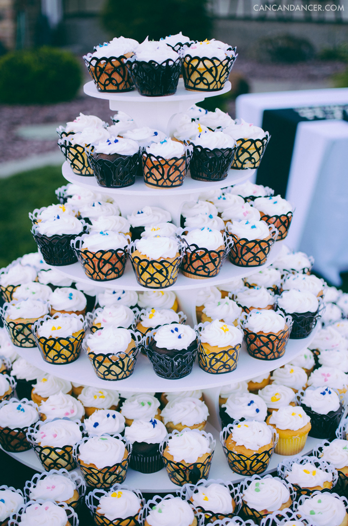 Rainbow-Themed Wedding Cupcake Tower